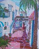 AN ALLEY TO JUST SIT AND ENJOY IN (tomas491) Tags: alley girl cat dog sun palmtree vine glass tables stairs bridge portal boganvillea geraniums