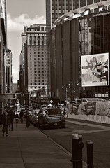 Around The Corner From B&H, Christmas Day (sjnnyny) Tags: west33st89thlookinge stevenj sjnnyny nyc midtownwest madisonsquaregarden streetscape manhattan city hotelpennsylvania nikond7500 buildings viewfromsidewalk