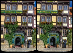 Hotel »Zur Goldenen Sonne« 3-D / Stereoscopy / CrossView / HDR / Raw (Stereotron) Tags: hotel zurgoldenensonne sachsenanhalt saxonyanhalt ostfalen harz mountains gebirge ostfalia hardt hart hercynia harzgau quedlinburg crosseye crosseyed crossview xview cross eye pair freeview sidebyside sbs kreuzblick 3d 3dphoto 3dstereo 3rddimension spatial stereo stereo3d stereophoto stereophotography stereoscopic stereoscopy stereotron threedimensional stereoview stereophotomaker stereophotograph 3dpicture 3dglasses 3dimage hyperstereo twin canon eos 550d yongnuo radio transmitter remote control synchron kitlens 1855mm tonemapping hdr hdri raw