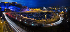 The Loop (Lolo_) Tags: longexposure marseille vieuxport trails city tunnel fortsaintnicolas harbor panorama cars france night poselongue saintvictor fortsaintjean pont bridge nd8