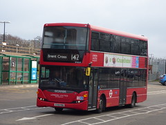 Scania in Herts (londonbusexplorer) Tags: london sovereign ratp group 142 brent cross watford junction first day tfl buses scania n230ud omnicity sp40135 yt59pbu