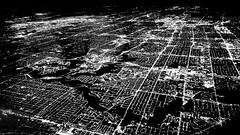 Greater Toronto Area from plane (MassiveKontent) Tags: toronto noiretblanc blackwhite bw city monochrome urban blackandwhite ontario aerialphotography bwphotography nightshot cityatnight