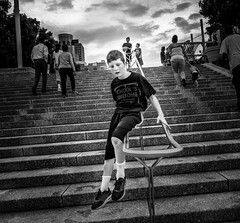 School's Out (tritranla) Tags: sunset cinncinnati street sky kid ohio blackandwhite play monochrome