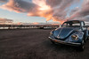 -Old vintage beetle (-Chiallonz) Tags: car beetle volkswagen vintage port birds sunset clouds sky red orange december january ship openair wideangle wide tokina nikon d5300 italia catania sicilia