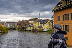 The wife in Strasbourg (Tony_Brasier) Tags: river rocks raw water woman walking working wife sue lovely location nikond7200 sky sigma sun house holiday 1750mm