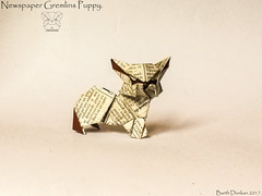 Newspaper Gremlins Puppy - Barth Dunkan (Magic Fingaz) Tags: anjing barthdunkan chien chó dog gremlins hond hund köpek monster origami perro pies пас пес собака หมา 개 犬 狗