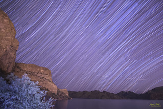 Star trail over Saguaro Lake