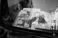 Dashboard Sid and Nancy (Eric Flexyourhead) Tags: shimokitazawa shimokita 下北沢 setagaya setagayaku 世田谷区 tokyo 東京 japan 日本 city urban detail fragment truck window windshield dashboard punk punkrock sidvicious nancyspungen sidandnancy sidnancy glass reflections monochrome blackwhite bw ricohgr