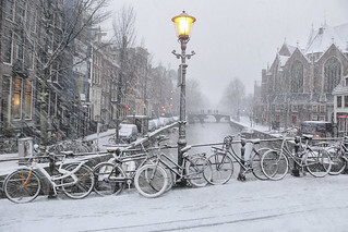 Snow storm in the oldest part of Amsterdam