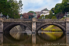 Nijubashi Bridge, Tokyo Imperial Palace (Jon Zazpe) Tags: tokyo tokio bridge imperial palace japan stone japon river tower old travel architecture building city ancient asia history landmark japanese oriental castle attraction sky water green nijubashi royal historic historical king fortress ngc