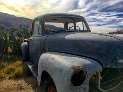 Farm fresh 54 (El Cheech) Tags: photography farmfresh cactus gloomy sundown sun clouds sky desert california banning oldie classic classictruck pickup underconstruction project shortbed 54chevytruck chevytruck truck chevrolet chevy 54chevy 1954