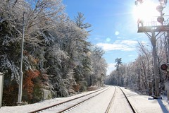 Sunny day on the tracks (Read2me) Tags: snow winter cye train tracks vanishingpoint railroad bluesky white perpetualchallengewinner pregamewinner thechallengefactory friendlychallenges gamesweepwinner challengeclubwinner matchpoint t661 gamex2