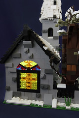 Winter Village Church - Stained Glass (brickwebster) Tags: lego winter village snow church stainedglass sled cathedral tree cross lighting led moc afol christmas train tracks ladder modular