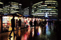 Christmas Market (Douguerreotype) Tags: tree buildings market street christmas lights city night uk british silhouette gb shop architecture britain urban england london shopping people dark