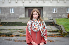 Daria Gladchenkova (ivan_volchek) Tags: street people portrait outdoors urban city girl outside road scarf wear fall pavement young fashion style stylish photoo day good wildhair door blurring