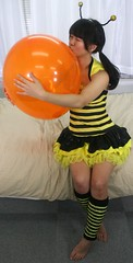 May You All Bee Kissed (emotiroi auranaut) Tags: girl woman lady bee costume newyearsday kiss kissing balloon orange love smooch midnight year annual hug embrace hugging embracing lovely loving pretty cute adorable beauty beautiful lover romantic romance sweet smoching
