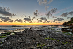 Good start to the day (JustAddVignette) Tags: australia beach dawn firstlight landscapes newsouthwales northernbeaches ocean rocks seascape seawater sky sunrise sydney turimetta water