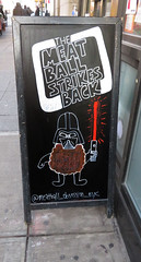 @Meatball_Obsession_Nyc (TheMachineStops) Tags: 2017 outdoor nyc newyorkcity manhattan sign chalk aboard funny text writing meatballs starwars lightsaber weapon scifi darthvader