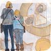 # 237 2017-12-27 (h e r m a n) Tags: herman illustratie tekening 10x10cm tegeltje drawing illustration karton carton cardboard kunst art tweevrouwen twowomen back rug rucke ruggenfiguur ruckenfigur museumvisitor museumbezoeker museum blind whitecane cane stok