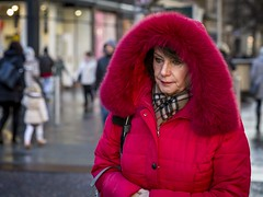 Red Riding Hood (Leanne Boulton) Tags: people portrait urban street candid portraiture streetphotography candidstreetphotography candidportrait streetportrait streetlife woman female face expression eyes look emotion feeling mood bright red coat fur furry hood winter tone texture detail depthoffield bokeh naturallight outdoor light shade city scene human life living humanity society culture fashion lifestyle canon canon5d 5dmkiii 70mm ef2470mmf28liiusm color colour glasgow scotland uk
