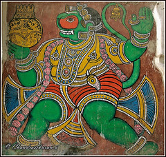 7456 - wall painting of Hanuman at Thanjavur Palace (chandrasekaran a 49 lakhs views Thanks to all.) Tags: thanjavurmarathapalace thanjajur palace serfoji nayaks bhonsle sivagangafort scuptures artgallery durbalhall painting shivaji saraswatimahal belltower arsenaltower travel artisticwork structures heritage venkoji canoneos400d