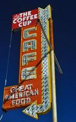 Great American Food (pam's pics-) Tags: nv nevada bouldercitynevada signs sign pamspics pammorris neon neonsign neonsigns vintagesigns roadtrip us usa america thecoffeecup cafe food coffeeshop restaurant diner nikond6000 californiaroadtrip2015 greatamericanfood bulb bulbsign arrowsign arrow