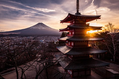 Chureito Pagoda - Fujiyoshida-shi, Japan - Travel photography (Giuseppe Milo (www.pixael.com)) Tags: photo architecture fuji mount landscape sunset travel chureito photography fujiyoshida sky pagoda landmark japan geotagged clouds fujiyoshidashi yamanashiken jp onsale portfolio