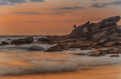 The Fisherman - Rocky Dawn Seascape (Merrillie) Tags: daybreak shoreline sand landscape killcarebeach australia surf nature sky centralcoast newsouthwales waves coastal nsw water beach ocean dawn sea rocks photography waterscape outdoors seascape clouds coast killcare fisherman
