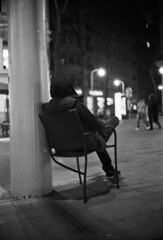 Chair (bian.hag) Tags: chair person hood night canon canonet