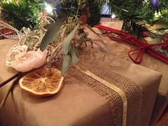 Season's Greetings ... (Mr. Happy Face - Peace :)) Tags: art2017 gifts tree present burlap bows ribbons orange