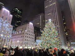 2017 Christmas Tree Rockefeller Center 5045 (Brechtbug) Tags: 2017 christmas tree rockefeller center with lights 12162017 nyc 30 rock new york city standing up above ice rink snow shoveling workers skating holiday decoration ornaments night lites light oversize load ornament midtown manhattan
