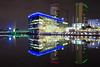 Media City, Salford Quays (G-WWBB) Tags: salfordquays mediacityuk mediacity mediacityfootbridge bbc quays reflections night water waterfront reflecting waterside lights thestudios reflect
