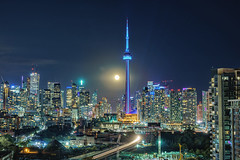 Full Moon Over Toronto (Brentg33) Tags: ifttt 500px ontario toronto canada sky landscape city travel night train cityscape glow lights motion moon stars landscapes nightlife sony alpha cn tower long exposure glowing urban exploration nightscape a7rii