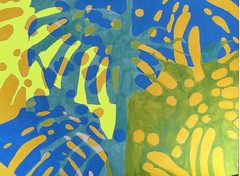 2017.10.19 Canopy (WIP - Digital Color Study) (Julia L. Kay) Tags: shadow shadows silhouette juliakay julialkay julia kay artist artista artiste künstler art kunst peinture dessin arte woman female sanfrancisco san francisco daily everyday 365 botanical botany plant foliage splitleaf philodendron splitleafphilodendron sundances schminke aerocolor ink paper brush liquitex