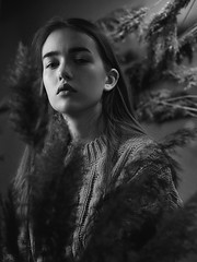 Sofia (ivankopchenov) Tags: girl portrait cute canon beautiful natural model mood people face dark fineart soft shadow noir light eos young hair warm sensual gentle cinematic grain depthoffield art black eyes blackandwhite white monochrome fashion studio reflection reed