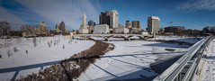 Columbus in Winter (tim.perdue) Tags: columbus winter ohio panorama downtown urban city skyline snow ice scioto river frozen main street bridge shadow sunlight sky clouds stitched lightroom building park mile olympus omd em10mkii cold rich st bicentennial leveque tower riffe center rhodes supreme court