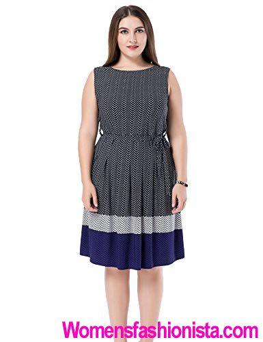 0c13392ba173b Chicwe Women s Sleeveless Chevron Border Printed Plus Size Dress 18