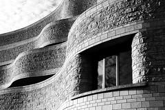 Window (Karen_Chappell) Tags: quebec hull gatineau ottawa travel bw window architecture building museum blackandwhite abstract curve shape brick curves bricks stone