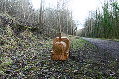 Wood cutting by railway trackbed   Monsal Trail      December 2017 (dave_attrill) Tags: monsaltrail millersdale peakforestjunction woodcutting sculpture artwork monsal dale trail station derby manchester buxton midland disused railway line trackbed footpath bridleway cycle path derbyshire peakdistrict wyevalley december 2017 winter closed1968 beeching