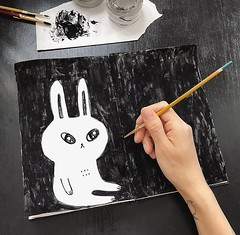 White rabbit, black sky (Andrea Kang) Tags: instagram paint painting blackandwhite bunny rabbit sketchbook sketch