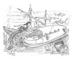 Mermaid (rod1691) Tags: santa myart art sketchbook bw scifi grey concept custom car retro space hotrod drawing pencil h2 hb original story fantasy funny tale automotive illistration greyscale moonpies sketch sexy