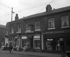 Negative No: 1968-2689 - Negatives Book Entry: 23-10-1968_CP_Clowes Street Gorton CPO_TP Inquiry (archivesplus) Tags: manchester england 1960s townhallphotographerscollection chemist optician fish
