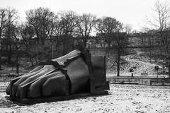 foot takes a step (louys:) Tags: themanuscriptofmontecassino eduardopaolozzi fuji xt2 xf1855mmf284rlmois sculpture publicart monochrome blackandwhite snow landscape