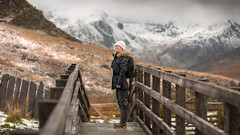The great outdoors.... (Einir Wyn Leigh) Tags: landscape bridge weather rural woman snow mountains wales december outside outdoors valley nikon 50mm delight happy fun