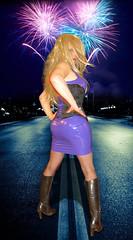 Fireworks! (Irene Nyman) Tags: irenenyman dutch crossdress crossdresser irene nyman tranny tgirl transgirl boots legs blueeyes leather latex cutie babe blonde xdresser mtf tights pantyhose transvestite cute holland highheels makeup corset dress minidress gummi rubber tightlacing