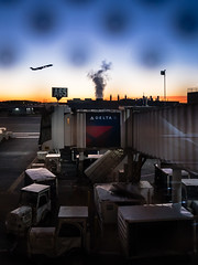 Takeoff at Sunrise (jmattbuchanan) Tags: dtw travel airport romulus michigan unitedstates us plane airplane flight iphone iphone7plus shotoniphone delta deltaairlines detroit sky sunrise smokestack
