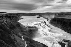 Gullfoss waterfall, Iceland (Aethelweard) Tags: southernregion iceland is waterfall water huge blackwhite blackandwhite gullfoss rocks clouds moody nature landscape photography landscapephotography naturephotography