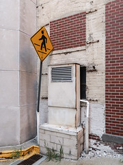 Crosswalk at ventilation on cinderblocks with draingrate, weeds, and bricked-in window and door. (Tim Kiser) Tags: 2017 20170818 august august2017 img2745 illinois sangamoncounty sangamoncountyillinois springfield springfieldillinois airduct airvent blockeddoor blockedwindow brickbuilding brickedin brickedindoor brickedinwindow bricks centralillinois cinderblocks concreteblocks concretemasonry concretemasonryunits crookedsign crookedsignpole crookedsignpost crosswalk crosswalksign curb downtown downtownspringfield draingrate duct ductwork formerdoor formerwindow grate paintedcurb pedestriancrossing pedestriancrosswalk pedestriansign vent ventilation weeds yellowcurb unitedstates us