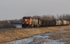 End of the Day Extra (Trevor Sokolan) Tags: alberta ab vegrevillesub chipman pnl sd402w sd402 sd dash2 gmd emd generalmotors diesel locomotive x411 freight curve sunset winter snow trains train trainspotting tracks canadian canada cn cnr canadiannational railway railroad railfan rail railfanning