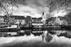 Quai des Bateliers, Strasbourg, France (Etienne Ehret) Tags: quai bateliers strasbourg alsace france reflets reflexions noir blanc bw black white architecture eglise church nikon d610 1424mm f28 uga